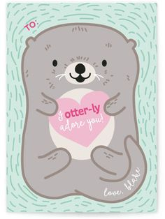 Otterly Adorable Classroom Valentine's Day Cards