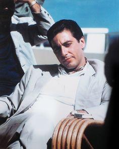 Al Pacinoon the set of (The Godfather Part II), (1974)