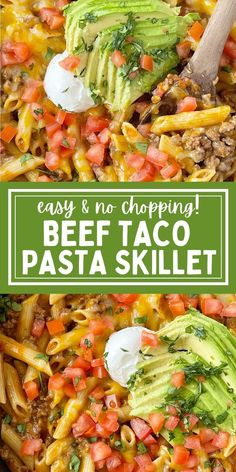 Easy Beef Taco Pasta Skillet is a quick one pot ground beef dinner recipe that only needs a few minutes prep time and no chopping! Yummy Pasta Recipes, Beef Recipes For Dinner, Casserole Recipes, Mexican Food Recipes, Skillet Recipes, Cooking Recipes, Quick Ground Beef Recipes, Skillet Dinners, Delicious Meals
