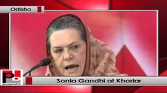 Congress President and UPA Chairperson Sonia Gandhi addresses an election rally in Khariar, Odisha.