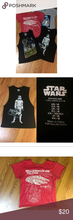 Star Wars Tee & Tank Bundle Two tees and two tanks from the Star Wars brand. All are from Target except the stormtrooper tank, it's from F21. They are all in good condition and size medium! Will ship same day as purchased! From a smoke free home. No trades please. Star Wars Tops