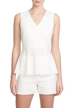 1.STATE V-Neck Peplum Sleeveless Top available at #Nordstrom