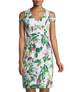 74d6a69f Shop Cold-Shoulder Floral Cocktail Sheath Dress from Donna Ricco at Neiman  Marcus Last Call, where you'll save as much as on designer fashions.