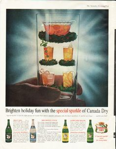"1961 CANADA DRY vintage magazine advertisement ""holiday fun"" ~ Brighten holiday fun with the special sparkle of Canada Dry - 'Special Sparkle' is just the right amount of Canada Dry's famous pinpoint carbonation plus the finest ingredients. It sparkles you longer ... sparkles you best! ~ Size: The dimensions of the full-page advertisement are approximately 10.5 inches x 13.5 inches (26.75 cm x 34.25 cm). Condition: This original vintage full-page advertisement is in Excellent ..."