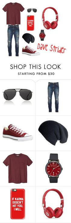 """""""Dave Strider"""" by cjthemage ❤ liked on Polyvore featuring Dior Homme, Nudie Jeans Co., Converse, Black, MANGO MAN, Ted Baker, Casetify, Beats by Dr. Dre, men's fashion and menswear"""