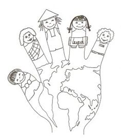 World hand puppet coloring sheet Preschool Education, Homeschool Kindergarten, Preschool Learning Activities, Preschool Activities, Colouring Pages, Coloring Sheets, Coloring Books, Around The World Theme, Kids Around The World