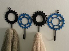 recycled bike gear towel/tool rack by davehardell on Etsy