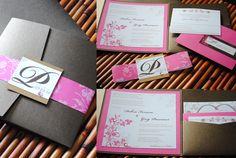 Chocolate & Pink Wedding Invites by ktorresdesign@gmail.com