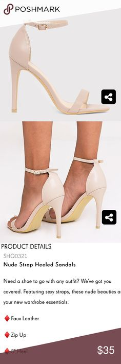 Nude Heeled Sandals NWT Never worn Nude heeled sandals from pretty little thing will fit a size 6 and 61/2 tags asos, missguided, Steve Madden, pretty little thing Shoes Heels