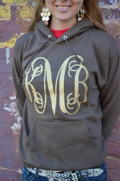 MONOGRAM Heat Press Hoodie  Bright Colors  by embellishboutiquellc