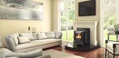 Lismore stove in contemporary setting Waterford Stanley, Stanley Stove, Stove Fireplace, Fireplace Ideas, Solid Fuel Stove, Keeping Room, Central Heating, New Homes, Home Appliances