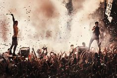 Tyler Joseph and Josh Dun of Twenty One Pilots performing live on stage on at O2 Academy on Feb. 23, 2016 in Birmingham, United Kingdom.