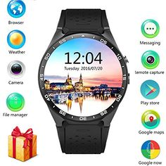 LEMFO KW88 3G Smart Watch Cell Phone All-in-One MTK6580 Android 5.1 Quad Core WiFi GPS Heart Rate Monitor (Gray Black) -- You can get more details by clicking on the image.