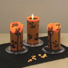Create a ghoulish ambience with these Halloween lights, candles and luminaries. Transform your home into a haunted house with Spooky Halloween Lighting & Candles Decoration Ideas. Halloween Candles, Creepy Halloween, Fall Halloween, Halloween Decorations, Halloween Lighting, Halloween Party, Haunted Halloween, Halloween Items, Halloween Design