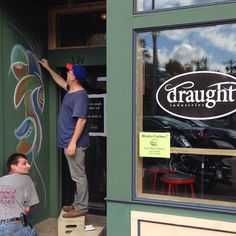 Shout out to our neighbors down the street, Draught Industries! Tom Moore from Scribbleheads bought some chalk from us a few hours ago and is drawing this awesome mural in Draught's doorway! Tom Moore, Beacon Ny, Pop Up Shops, Lower Manhattan, Local Artists, Doorway, Shout Out, The Locals, York