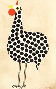 Aldemir Martins Galo - óleo e nanquim sobre papel 1957 - 96 x 62