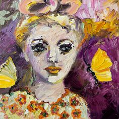 The Sadness In Her Eyes  20 by 20 inch Original Impressionist Oil Painting on Canvas by Ginette Callaway