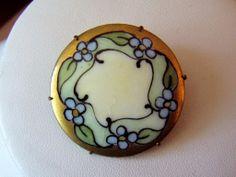 Vintage Painted Porcelain Brooch
