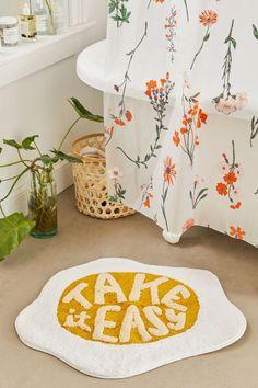 Complement your sunnysideup POV with this tufted shag bath mat the perfect little reminder to take it easy. Shaped design made from a plush cotton. Content Care 100 cotton Spot clean Imported Size Dimensions 28 l x w Bathroom Rugs, Bath Rugs, Bathroom Ideas, Bathroom Organization, Bathroom Inspiration, Bathroom Designs, Small Bathroom, Navy Bathroom, Bathroom Canvas