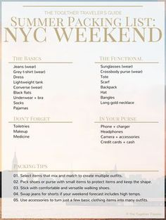 NYC Summer Weekend Packing Guide  - Everything you need to pack for a summer weekend in new york city plus tips for packing and an itinerary