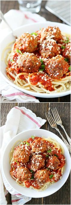 The BEST Spaghetti and Meatballs Recipe on twopeasandtheirpod.com This meal is sure to be a family favorite and they are easy to make!: