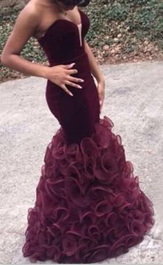 Indian Prom Dresses 2016 Burgundy Mermaid Corset Sweetheart Sexy Evening Gowns Tulle Ruffles Long Special Occasions Dress For Black Girl