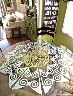 Decorating Dining Room Table With Verre Eglomise And Modello Designs Custom Vinyl Stencils Gold Gilded