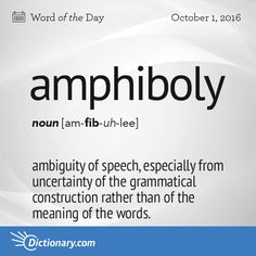 Dictionary.com's Word of the Day - amphiboly - ambiguity of speech, especially from uncertainty of the grammatical construction rather than of the meaning of the words, as in The Duke yet lives that Henry shall depose.