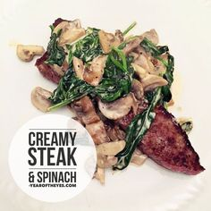 Creamy steak and spinach recipe from the Body Coach Lean in 15 cooked by Year Nutritious Meals, Healthy Snacks, Healthy Eating, Healthy Recipes, Clean Eating, Spinach Recipes, Beef Recipes, Cooking Recipes, Recipies
