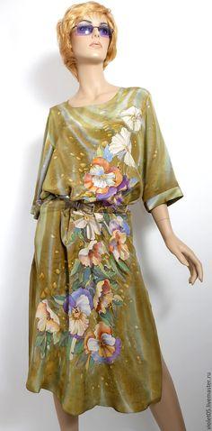 """Купить Платье на заказ """"Цветочный блюз"""" - батик, шелк,ручная роспись - Батик, дизайнерская одежда"""