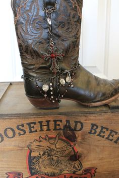 Boot Jewelry to dress up your boots. Red Jeweled by NimbleArtisans, $45.00