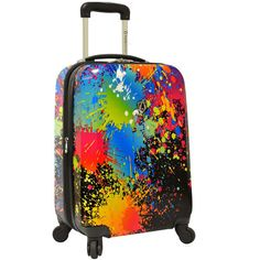 """Traveler's Choice Paint Splatter 21"""" Carry-On Spinner Luggage ($90) ❤ liked on Polyvore featuring bags and luggage"""