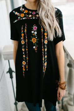 Flower Embroidered Tunic- Black (Tunic Top)