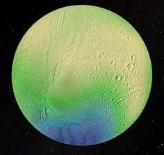 An ocean lies a few kilometers beneath Enceladus's icy surface.the discovery in 2015 of an oscillation in Enceladus's rotation known as a libration, which is linked to tidal effects, suggests that it has a global ocean and a much thinner ice shell than predicted, with a mean thickness of around 20 km. Also there is evidence of a heat source, possible hydrothermal vents -- favorable for life.