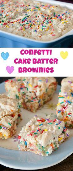 Cake Batter Brownies - Sprinkles + Funfetti Brownie Recipe Confetti Sprinkle Cake Batter Brownies - these are ooey gooey good!Confetti Sprinkle Cake Batter Brownies - these are ooey gooey good! Brownie Desserts, Brownie Recipes, Easy Desserts, Cookie Recipes, Delicious Desserts, Yummy Food, Brownie Cake, Chocolate Desserts, Fast Dessert Recipes