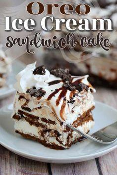 Cool Whip Desserts, Frozen Desserts, Just Desserts, Frozen Treats, Oreo Ice Cream Sandwich, Sandwich Cake, Sandwiches, Smores Dessert, Ice Cream Deserts