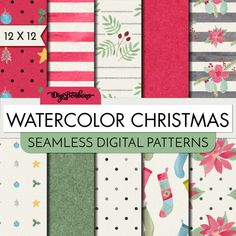 Watercolor Christmas- Digital Paper Pack- 10 Seamless Digital Patterns - 12x12 Paper size - watercolor digital papers