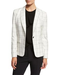 VERONICA BEARD CLUBHOUSE CUTAWAY JACKET, WHITE/BLACK. #veronicabeard #cloth #