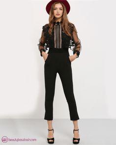 LANTERN SLEEVE LACE CROCHET JUMPSUIT Lantern Sleeve Lace Crochet Jumpsuit - Beauty Boss Tosh – Your online fashion boutique and lady entrepreneur resource