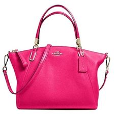 """NWT 🔶 COACH Pebbled Leather Small Kelsey Lavish """" Pink Ruby"""" pebbled leather with signature gold tone hardware add impeccable refinement to a sized-down hands free satchel featuring round shoulder-carry handles and an optional, adjustable crossbody strap for styling versatility. * Pebbled leather * Inside zip, cell phone and multifunction pockets * Zip-top closure, fabric lining * Handles with 5"""" drop * Adjustable, longer strap with 21"""" drop for shoulder or crossbody wear * 13 1/2"""" (L) x 8…"""