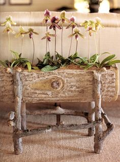 faux-bois planter - I love this and with the willow tree furniture how great that would look!