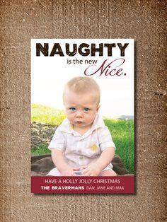 Modern Holiday Card, Funny Christmas Card, Naughty. $15.00, via Etsy.
