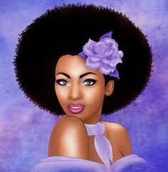 flower hair clips for natural afro hair Black Love Art, Black Girl Art, My Black Is Beautiful, Beautiful Artwork, Art Girl, Stunningly Beautiful, Beautiful Pictures, Black Art Pictures, Hair Pictures