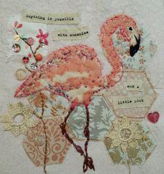 Textile art by Emily Henson www.facebook.com/bibliboo flamingo vintage fabrics