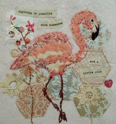 Textile art by Emily Henson www.facebook.com/bibliboo flamingo vintage fabrics