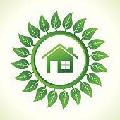 Eco home inside the leaf background stock vector