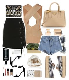 """Day & Night"" by patricia-pfa ❤ liked on Polyvore featuring Prada, Boucheron, Balmain, Bobbi Brown Cosmetics, Le Specs, Jayson Home, Tory Burch, Casetify, Yves Saint Laurent and Marc Jacobs"