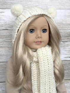 DIY Crochet Pattern  18 inch Doll Hooded Pom Pom Scarf PDF 23