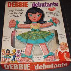 Debbie the Debutante yarn doll kit, 1961