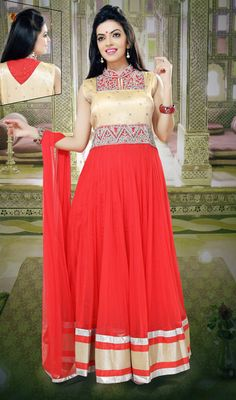 Red and Beige Net Floor Length Anarkali Dress Price: Usa Dollar $185, British UK Pound £109, Euro136, Canada CA$200 , Indian Rs9990.